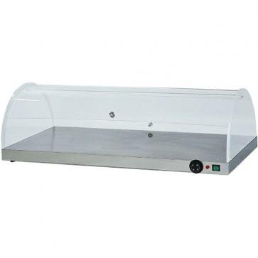 Piano caldo cm 100X50X30H in acciaio con cupola plexiglass professionale vetrina