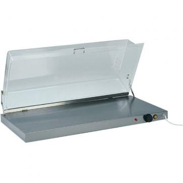 Piano caldo cm 90X45X20H in acciaio con cupola plexiglass professionale vetrina