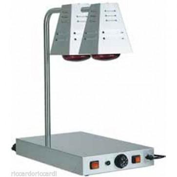 PIANO CALDO cm 60X40X68H ACCIAIO 2 lampade Infrarossi Professionale Mantenimento