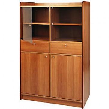 Mobile di sala in legno noce sportello tramoggia cm 95x49x144H madia fumé