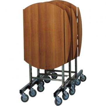 CARRELLO BREAKFAST ROTONDO Ø cm 80X80H pieghevole legno e acciaio Professionale