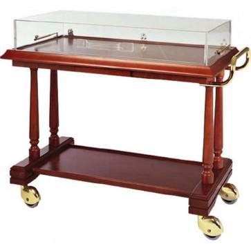 Carrello servizio in legno Coperchio PLX 3 piani antipasti Dolci ristoranti