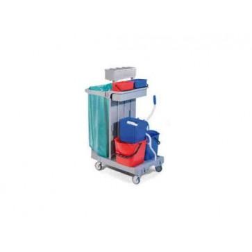 Carrello pulizia cm 92X68X124H plastica con secchio strizzatore sacco carrelli