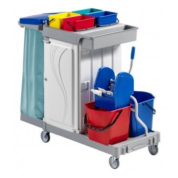 Carrello pulizia cm 133X68X124H plastica con secchio strizzatore sacco carrelli