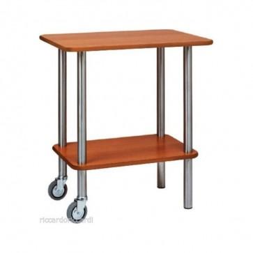 Carrello gueridon cm 70X50X78H 2 piani professionale wengé e metallo due ruote