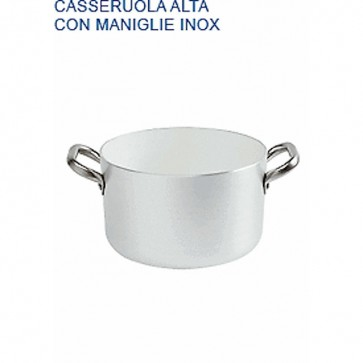 CASSERUOLA ALTA Alluminio Ø cm 16X9H 2 MANIGLIE mm 2 Padella Pentole Agnelli