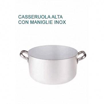 CASSERUOLA ALTA In Alluminio Ø cm 22X12H 2 MANICI Professionale Pentole Agnelli