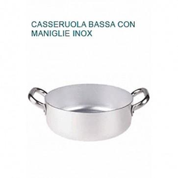 CASSERUOLA BASSA Alluminio Ø cm 22X8H 2 MANICI Professionale Pentole Agnelli