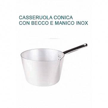 CASSERUOLA CONICA CON BECCO Ø cm22X12,5H Alluminio Professionale Pentole Agnelli