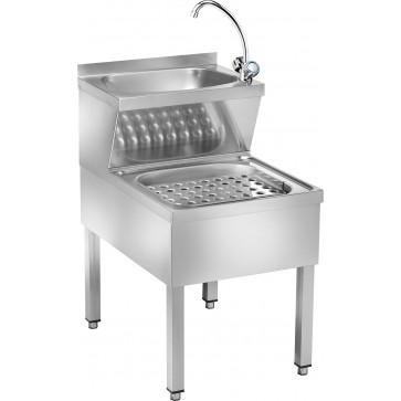 Lavamani combinato più lavastracci cm 50X70X89H con rubinetto acqua calda fredda