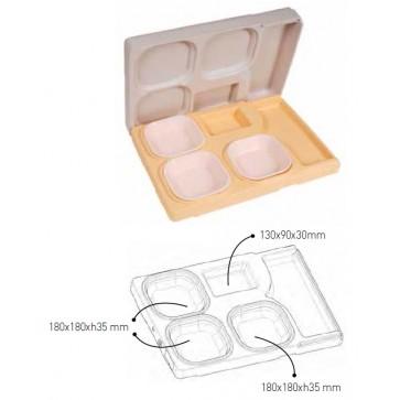 Vassoio isotermico con coperchio per trasporto pasti caldi freddi mm 530X370X105