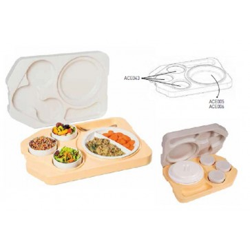 Vassoio isotermico con coperchio completo di piatti e coperchi mm 530X370X105H