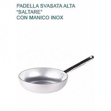 PADELLA SVASATA SALTARE Ø cm20X5,5H ALTA Alluminio Professionale Pentole Agnelli