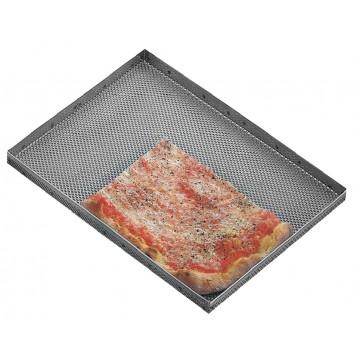 Teglia in lamiera forata per pizza cm 60x40x2H Giotto 582/40 alta croccante