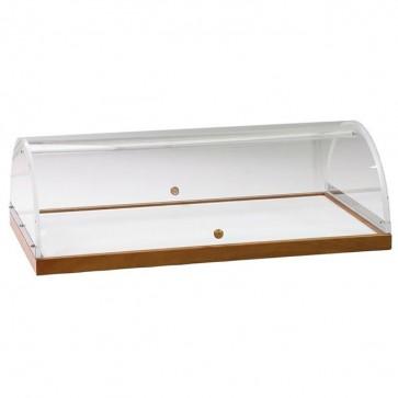 Vetrinetta In Legno Noce con cupola Plexiglass cm 70X50X22H Accessorio Carrelli