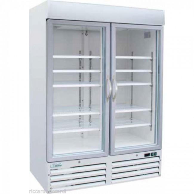 Vetrina refrigerata 2 ante vetro -18°/-22° C bianca freezer professionale  930 L