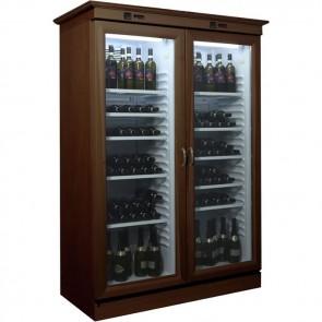 Vetrina refrigerata per vini in legno 2 ante vetro combinata +2°/+8° C 310+310 L