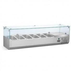 Vetrina refrigerata pizza cm 140X33 con vetro per pizzeria vetrine condimenti