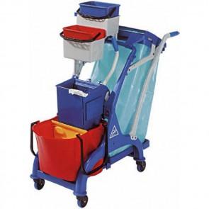 Carrello pulizia cm 107X56X111H plastica con secchio strizzatore e sacco carrelli