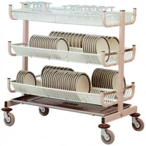 CARRELLO SCOLAPIATTI e bicchieri cm 117X62X110H 3 PIANI 200 Piatti Professionale