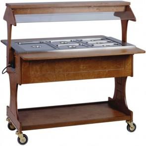 CARRELLO TERMICO in legno per buffet professionale Ristorantiì RUOTE bagnomaria