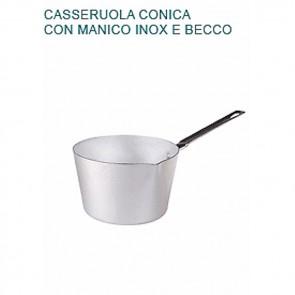 CASSERUOLA CONICA CON BECCO Ø cm 18X11,5H Alluminio 2 mm Manico Pentole Agnelli