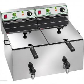 Friggitrice elettrica professionale per pub bar paninoteche ristoranti 6+6 L