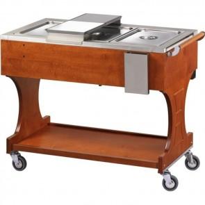 CARRELLO TERMICO BAGNOMARIA legno noce 2 GN 1/1 professionale bolliti arrosti