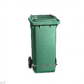 CONTENITORE lt 120 verde con pedale bidone pattumiera raccolta differenziata