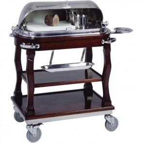 Carrello Professionale ROAST BEEF Legno MOGANO W360 Tagliere polietilene 230V