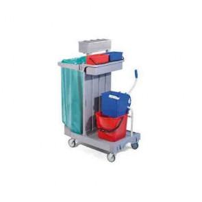 Carrello pulizia cm 92X55X124H plastica con secchio strizzatore sacco carrelli