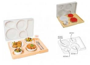 Vassoio isotermico con coperchio completo di piatti e coperchi mm 530X370X105