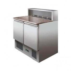 TAVOLO REFRIGERATO 2 ANTE mm 900 SALADETTE REFRIGERATA +2°+8° INOX per pizzeria