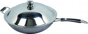 Pentola wok Ø cm 36 con coperchio per piastra a induzione piano concavo BT350W